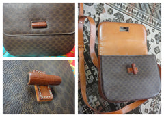 Vintage CELINE darkbrown and brown macadam blason pattern shoulder bag with leather trimmings. Unisex. riri zipper