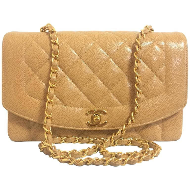 48f64df3584c Vintage Chanel brown beige caviar leather 2.55 flap shoulder bag with  golden CC closure