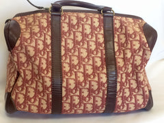70's Christian Dior Vintage trotter bagages wine color handbag purse with leather trimmings.