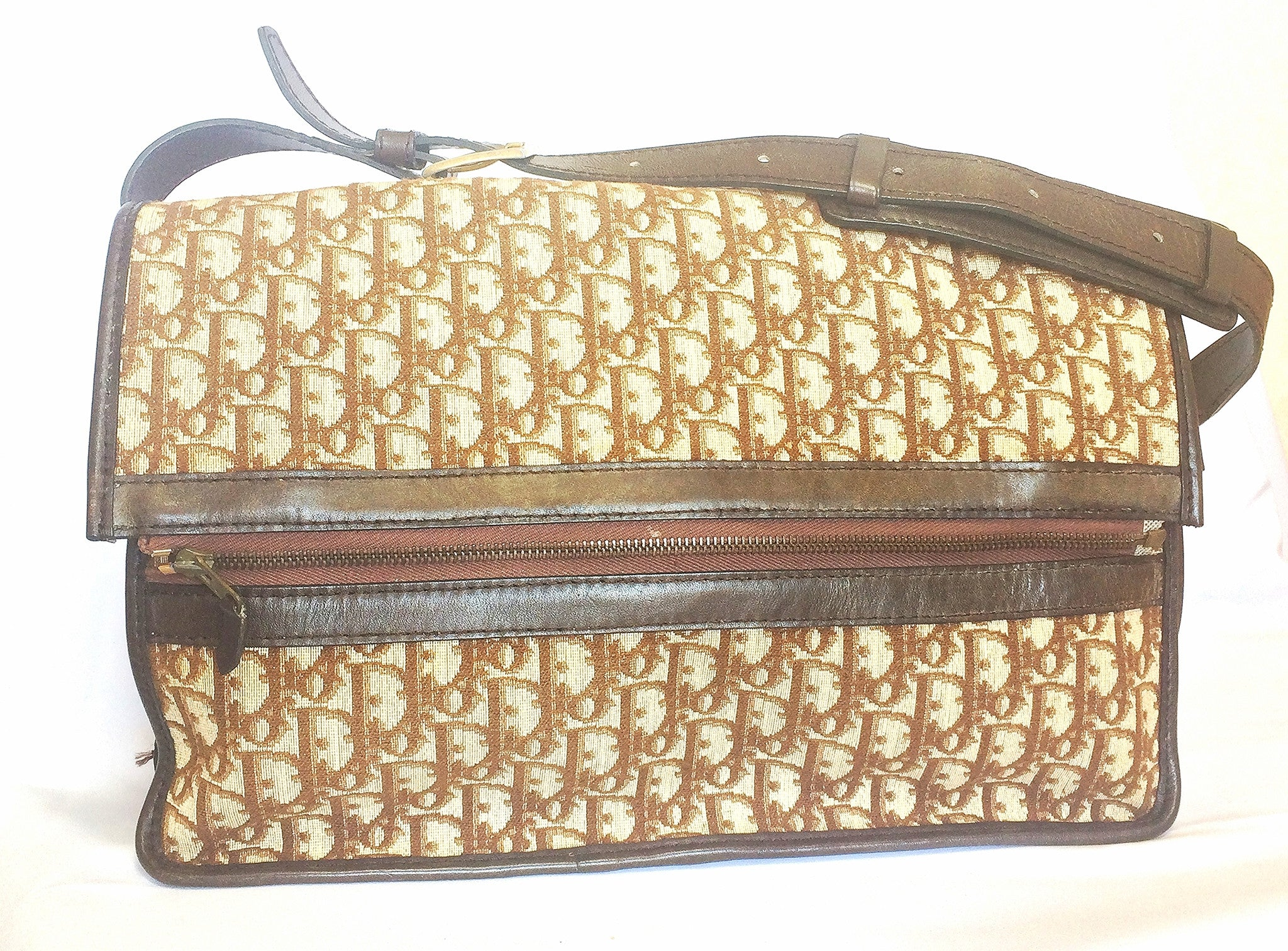 70's, 80's Christian Dior vintage beige and brown trotter monogram large folded design bag, messenger bag. Unisex. Eclair zippers.