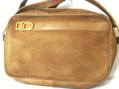 Vintage Christian Dior brown beige suede leather shoulder bag with golden CD motif. Masterpiece from MODELE EXCLUSIF. Unisex daily bag.
