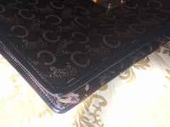 Vintage CELINE dark brown iconic carriage jacquard clutch bag with leather trimmings. Mini document case. Unisex use.