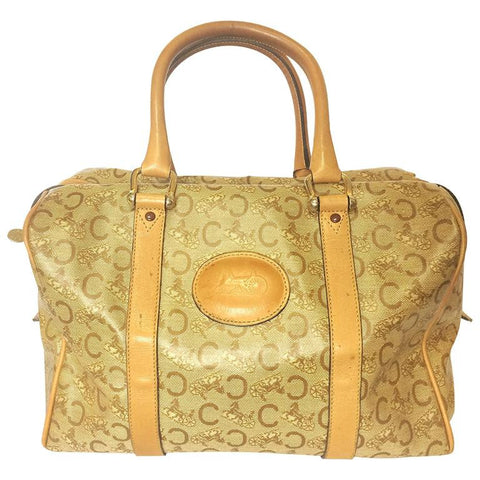 Vintage Celine classic beige and brown macadam and blason pattern handbag, speedy design duffle bag with embossed logo. Unisex.