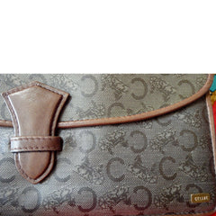 Vintage CELINE brown beige classic C logo and carriage pattern clutch bag, mini document case  with leather trimmings.