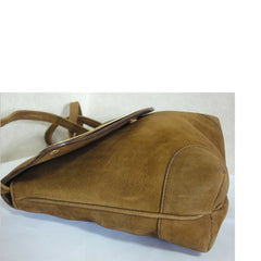 Vintage CELINE genuine suede tanned brown leather shoulder bag, clutch purse with golden frame flap and embossed macadam blason logo.