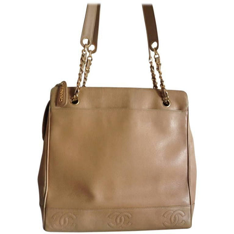 566eb44b9f77 Vintage CHANEL brown beige caviar leather chain tote bag, shoulder purse  with CC stitch marks