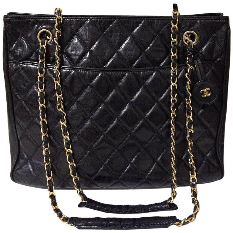 Vintage Chanel Black Quilted Lambskin Classic Tote Bag