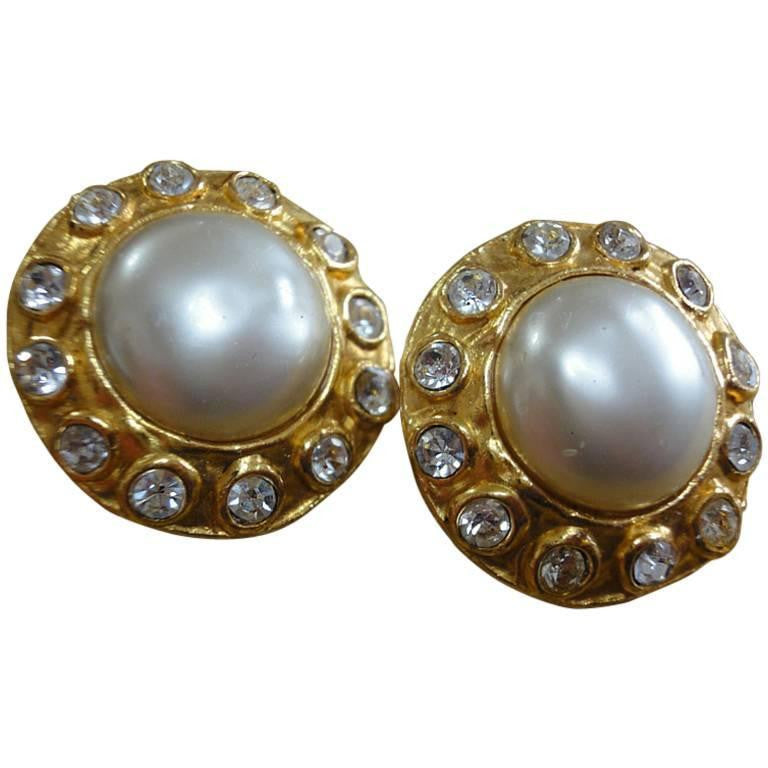 90s Vintage CHANEL gold tone earrings with faux pearl and rhinestones. Great vintage gift. List