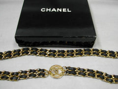 "Vintage CHANEL double golden chain and black leather belt with golden CC charm hock. Classic belt  29.5"", 75cm"