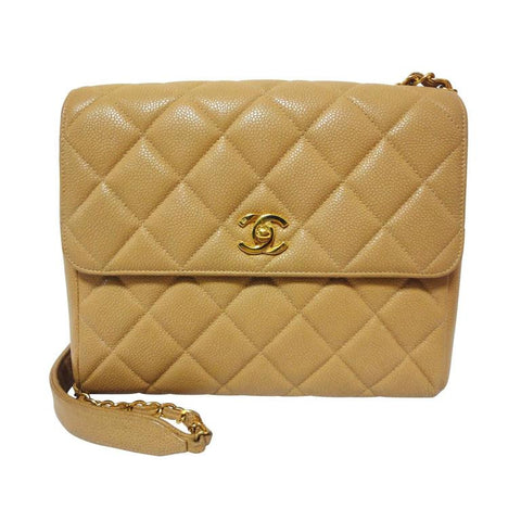 4a657dc53a9f Vintage Chanel classic beige caviar leather 2.55 square shape chain  shoulder bag with golden CC closure