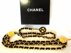 MINT. 1980's Vintage CHANEL 3 layered black leather and golden chain belt with golden CC charms. Can be necklace. Perfect CHANEL jewelry.
