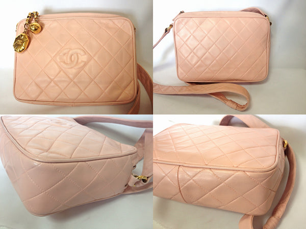 26b890185335 ... Vintage CHANEL milky pink lamb leather camera bag style shoulder bag  with golden CC charms and ...