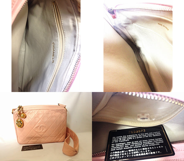 f63d72d635eb ... Vintage CHANEL milky pink lamb leather camera bag style shoulder bag  with golden CC charms and