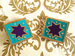 Vintage Christian Lacroix blue and purple enamel extra large square earrings with crystals. Rare statement jewelry. Great gift