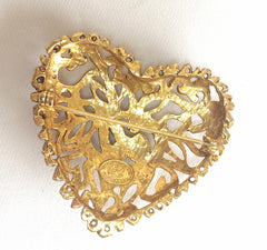 Vintage Christian Lacroix golden edwardian heart and arabesque design brooch, hat pin, jacket pin with crystal stones. Perfect jewel