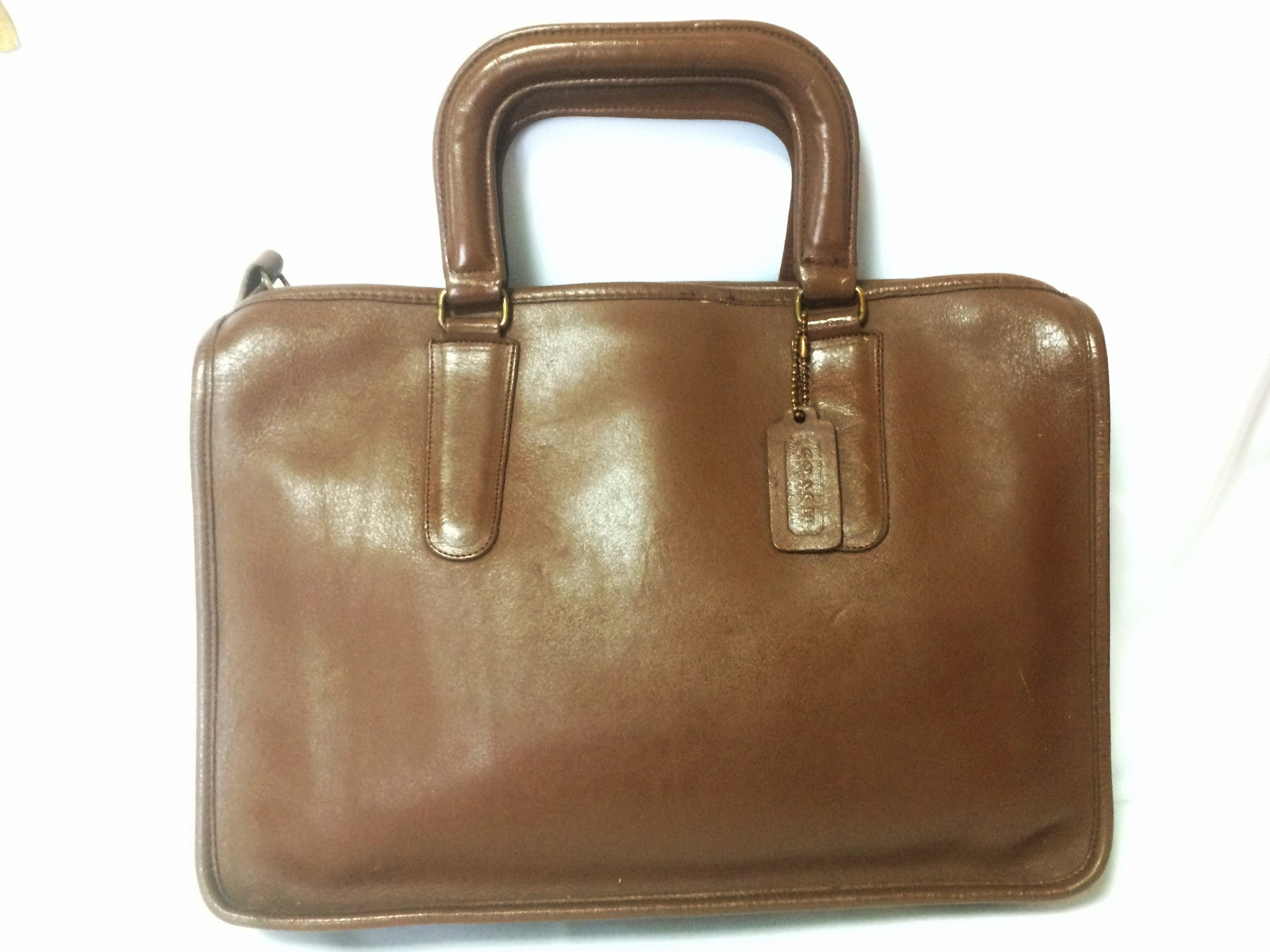 80's Vintage COACH brown leather bag, handbag designed by Bonnie Cashin, Made in New York City Classic unisex purse. Must have.