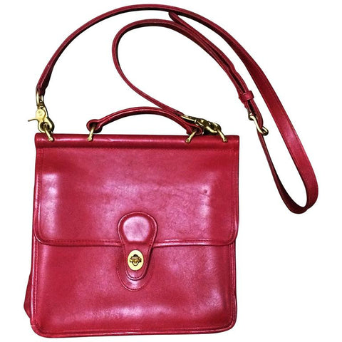 Vintage COACH genuine red leather postman style bag, handbag, shoulder bag, Made in USA, Classic unisex purse. Must have.