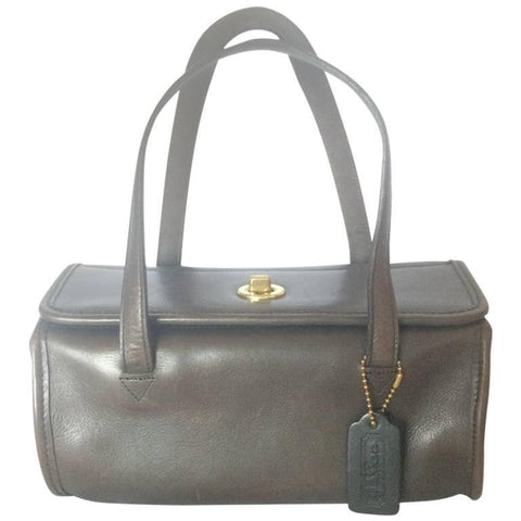 80's Vintage COACH dark brown leather shoulder bag, handbag in unique drum shape, Made in USA Classic unisex purse. Rare