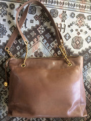 Reserved for Leonis. Vintage CHANEL cocoa brown caviar leather large shopper tote bag, shoulder purse with CC charms and golden chains. Classic and daily use bag