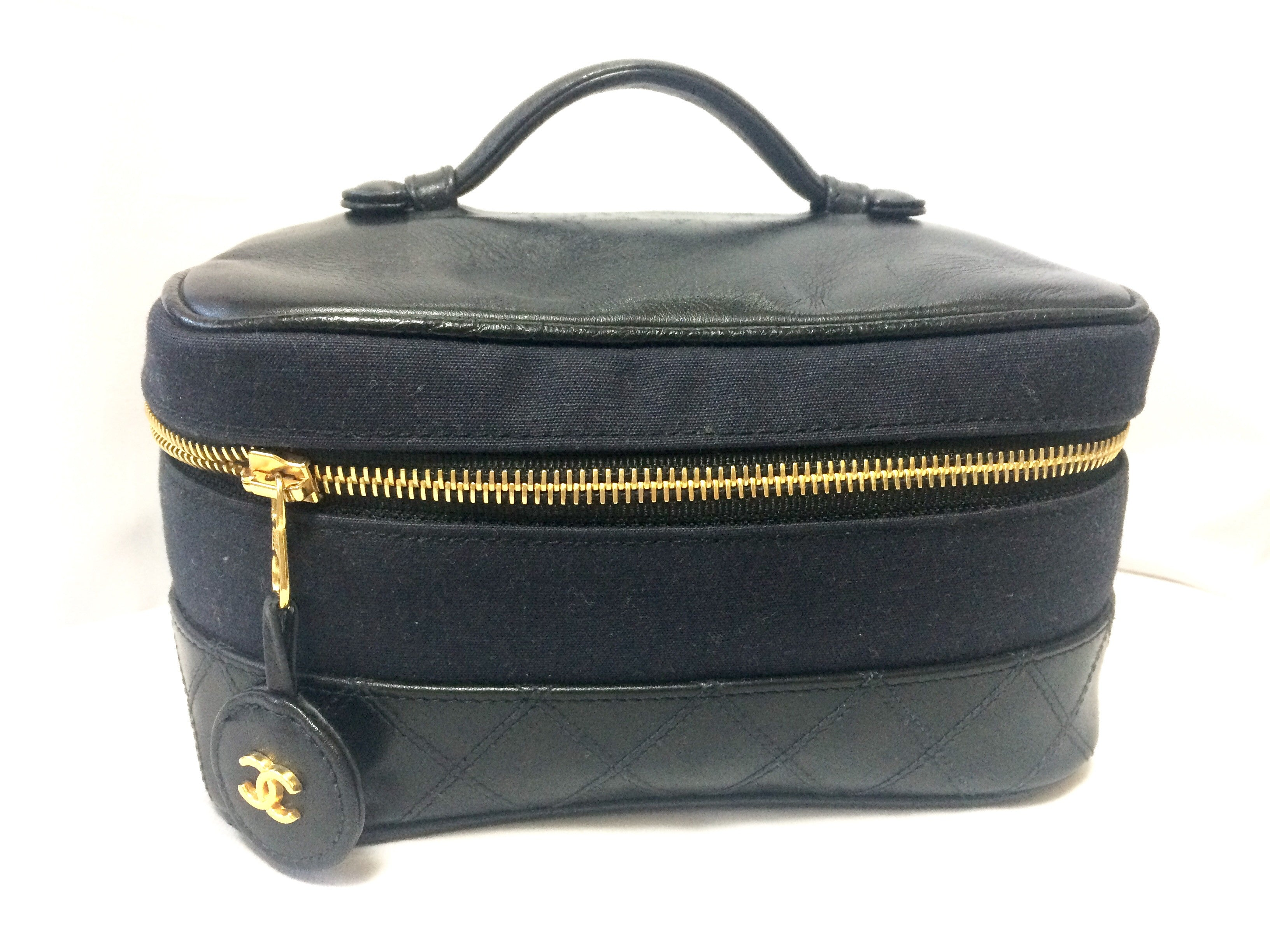 e4e815adbd78 Vintage CHANEL black leather and canvas combo classic cosmetic and toiletry  pouch