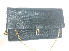 Vintage BALLY genuine black crocodile chain clutch, shoulder bag. Classic purse.