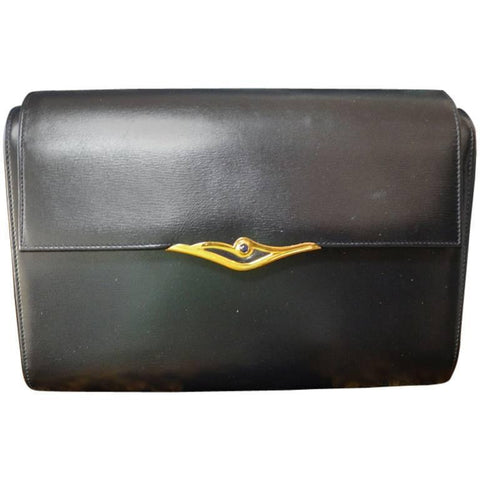 Vintage Cartier black navy genuine leather classic shape clutch bag with a blue stone. Masterpiece purse from Sapphire line