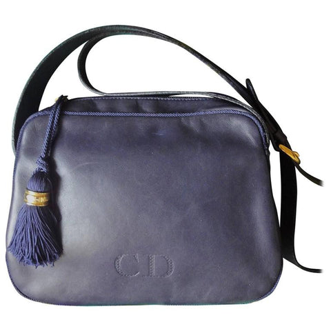 Vintage Christian Dior navy lamb leather shoulder bag with fringe. Classic daily use purse that never go out of style.