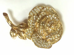 MINT. Vintage Christian Dior rose flower brooch with rhinestone crystals. Can also be hat, scarf, jacket pin