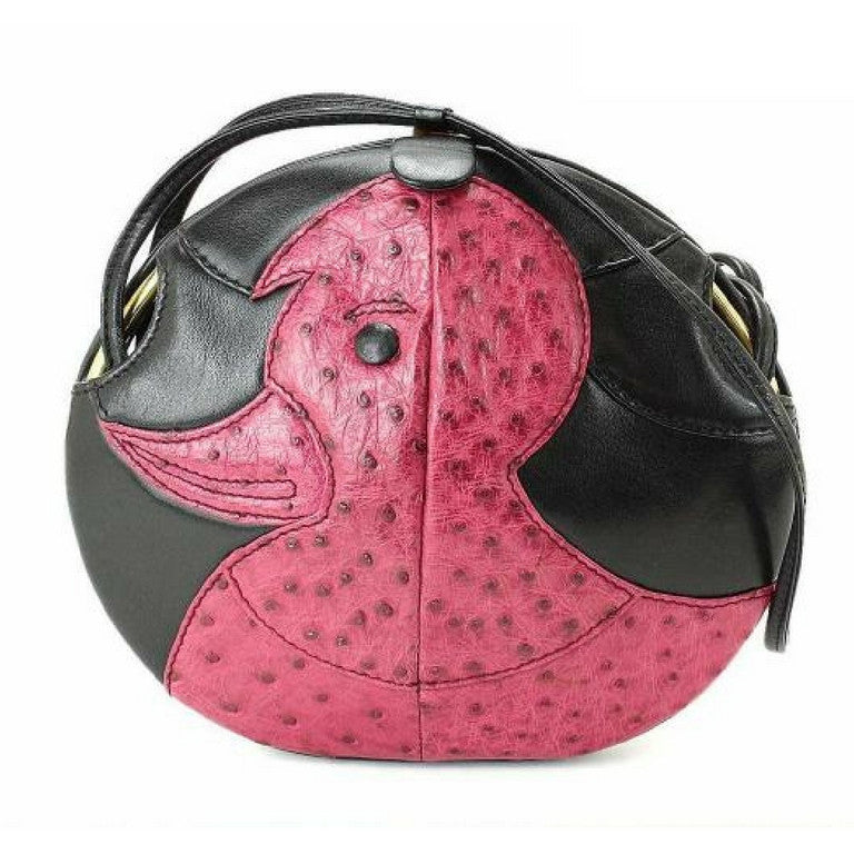 1980s. Vintage BALLY cute duck design black leather and pink ostrich leather combi round shoulder bag, clutch purse. Made in West Germany.
