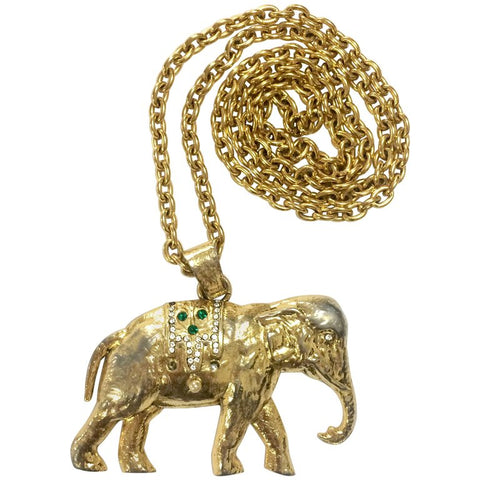 Vintage Sonia Rykiel gold tone large elephant pendant top long chain necklace. Perfect vintage jewelry from SR