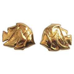 Vintage ESCADA golden topical fish design earrings. Perfect vintage jewelry gift.