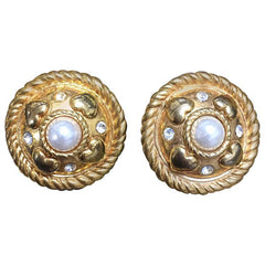 Vintage ESCADA extra large round golden earrings with heart, faux pearl, and rhinestones.