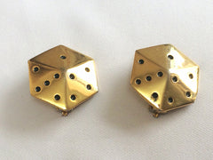 Vintage ESCADA golden dice cube design earrings. Perfect vintage jewelry gift.