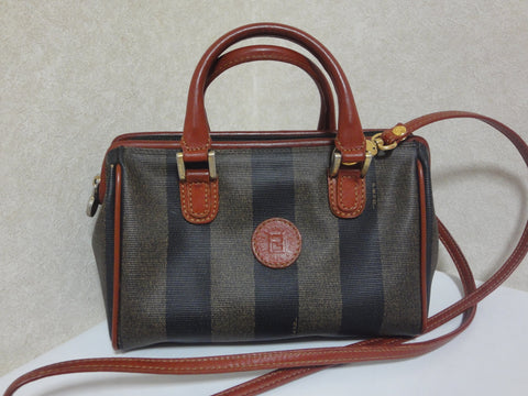 Vintage FENDI pecan stripe mini handbag, shoulder purse with brown leather strap and handles. Fendi classic bag