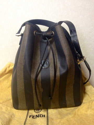 SOLD OUT: Vintage FENDI pecan vertical stripe bucket hobo shoulder bag with draw strings and black leather trimming. Unisex, classic purse