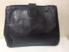70's, 80's vintage FENDI black large clutch purse, pouch, toiletries with chevron and logo embossed leather. Unisex classic style.