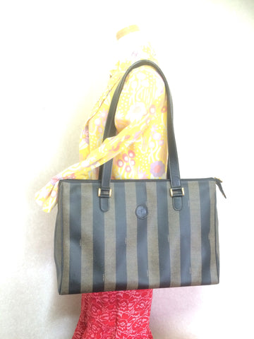 Vintage FENDI classic pecan stripe pattern large shopper tote bag with black leather handles. Daily use purse for Unisex