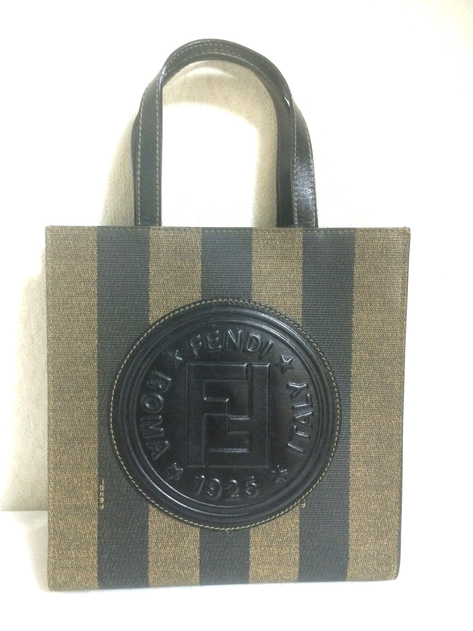 MINT. Vintage FENDI pecan khaki and black vertical stripe, mini shopping tote bag with a round leather logo mark. Unisex and daily use.