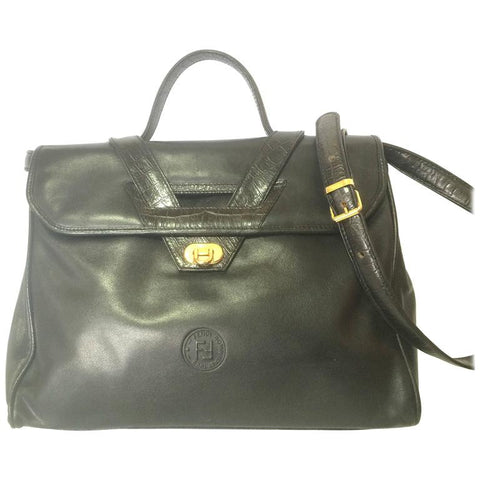 b3a8bcffff76 Vintage FENDI genuine black leather kelly style shoulder bag with croc-embossed  leather and FF