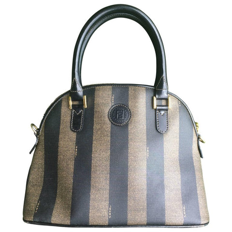 Vintage FENDI classic black and grey pecan vertical stripe bolide shape handbag with leather handles. Classic bag for daily use.