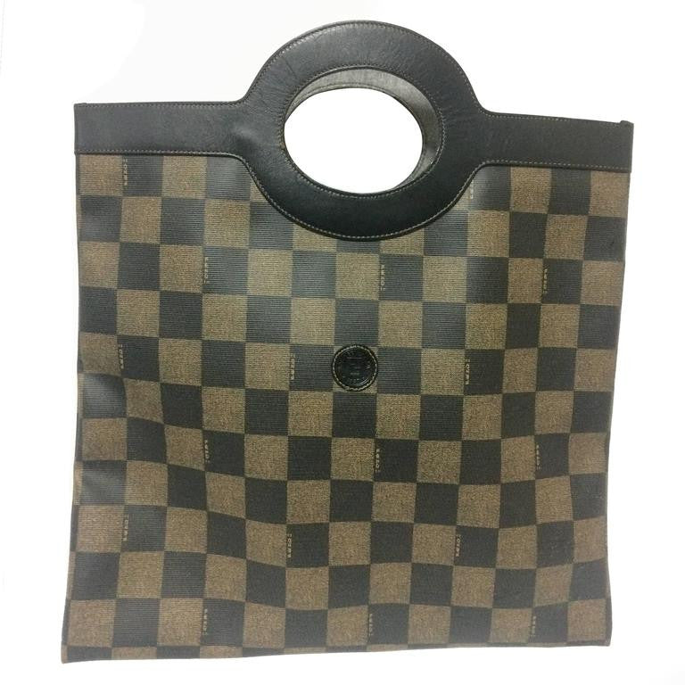 fa0d5fcba7 Vintage FENDI classic pecan chess pattern shopper tote bag with black  leather trimming. Daily use