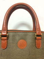 Vintage FENDI grey bolide bag style handbag with brown leather handles and trimmings.