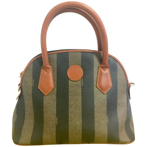 Vintage FENDI pecan khaki and grey stripe bag with brown leather handles and trimmings in bolide shape.