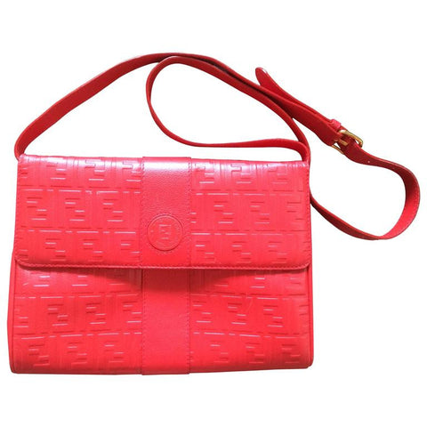a24208e7a958 Vintage FENDI red genuine leather shoulder bag with FF embossed logo  allover. Can