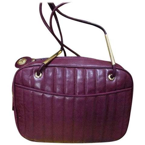 f59a6364fc Vintage FENDI wine red lambskin leather shoulder bag with golden logo charm  pull. Vertical stitch