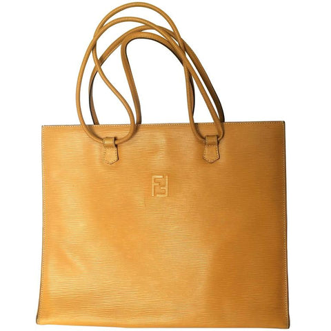 Vintage FENDI light mustard yellow epi leather extra large shoppers tote bag with logo stitch mark. Rare