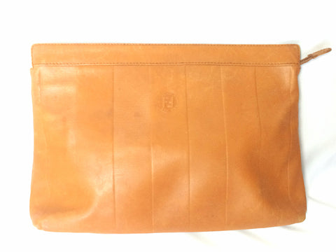 Vintage Fendi orange brown genuine leather mini document bag, clutch purse with embossed logo and epi mix. Classic unisex style Fendi purse