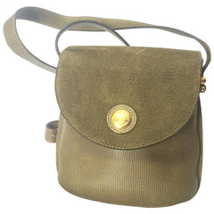 Vintage FENDI khaki green grained and pigskin suede leather combination mini shoulder bag with golden round logo at front.