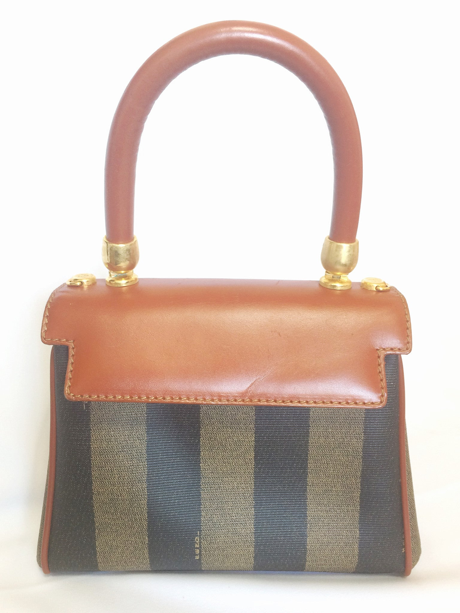 Vintage FENDI kelly bag style mini handbag in classic pecan stripes and brown leather handle. Classic vintage bag