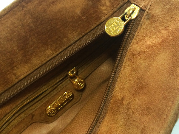 e401953029 Vintage FENDI tanned brown suede twisted rope stitch bag with golden  handles. Daily purse.